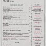 The Maker Cafe Menu – Back