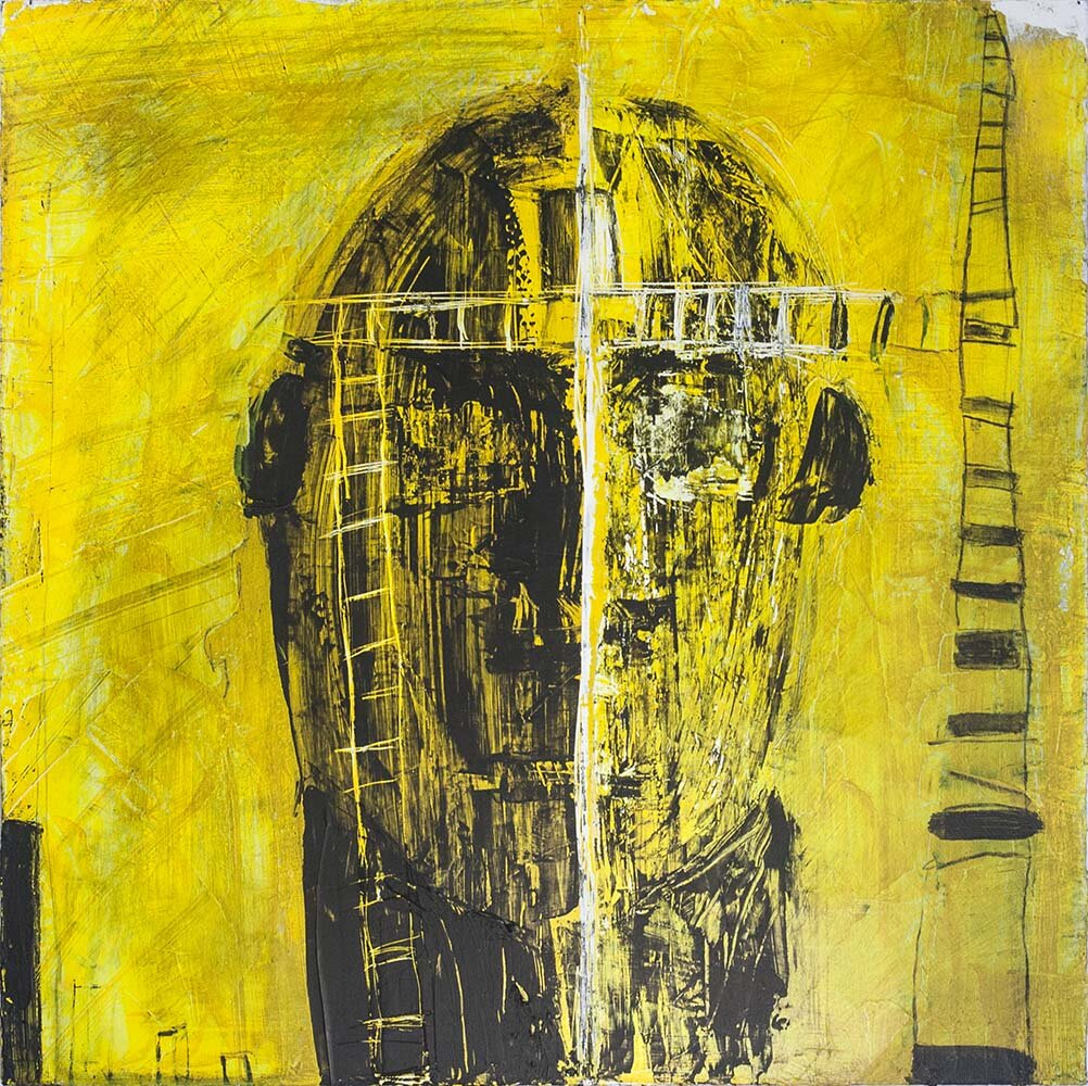 Contemporary art mixed media painting yellow and black by Hudson LGBQT artist Pauline Decarmo.