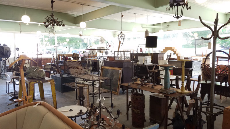 Showroom view of items up for debut auction at Public Sale auction house in Hudson, NY.