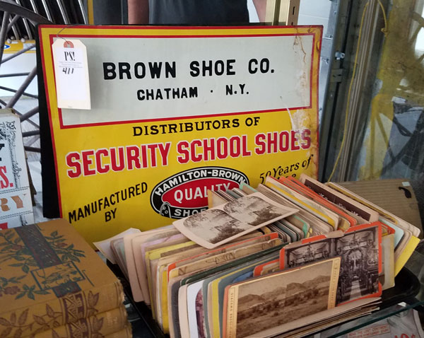 Vintage advertising sign of shoe company in Chatham, NY from Vincent Mulford collection up for auction at Public Sale auction house in Hudson, NY.