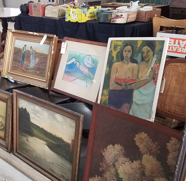 Vintage paintings from Vincent Mulford store as items for debut auction at Public Sale auction house in Hudson, NY.