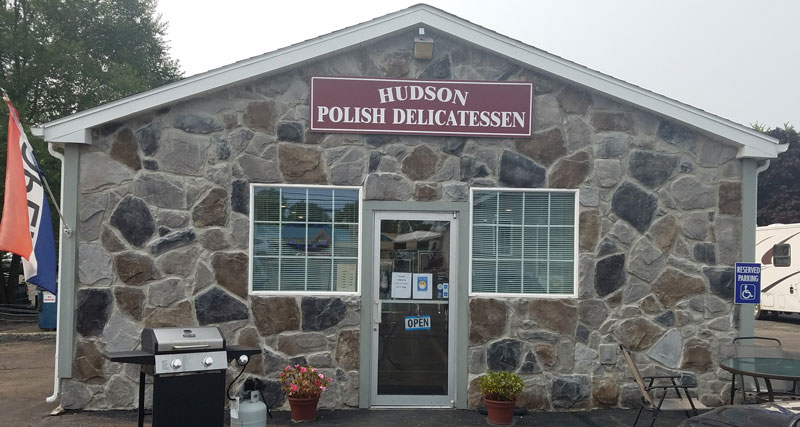 front of Hudson Polish Delicatessen in Hudson, NY