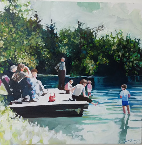 Contemporary art painting of figures lounging around lake by Ruth Shively.