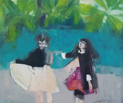 contemporary art oil painting by Ruth Shively of two figures in a tropical scene.