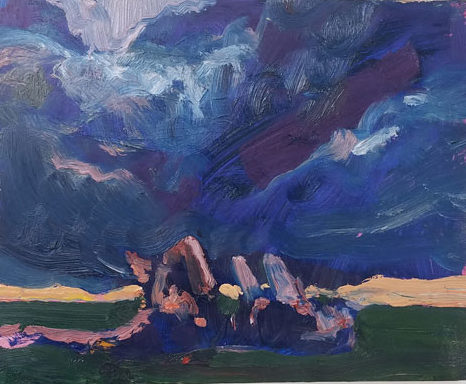 contemporary art painting by Emily LaCour of figures lying in grass watching stormy sky.